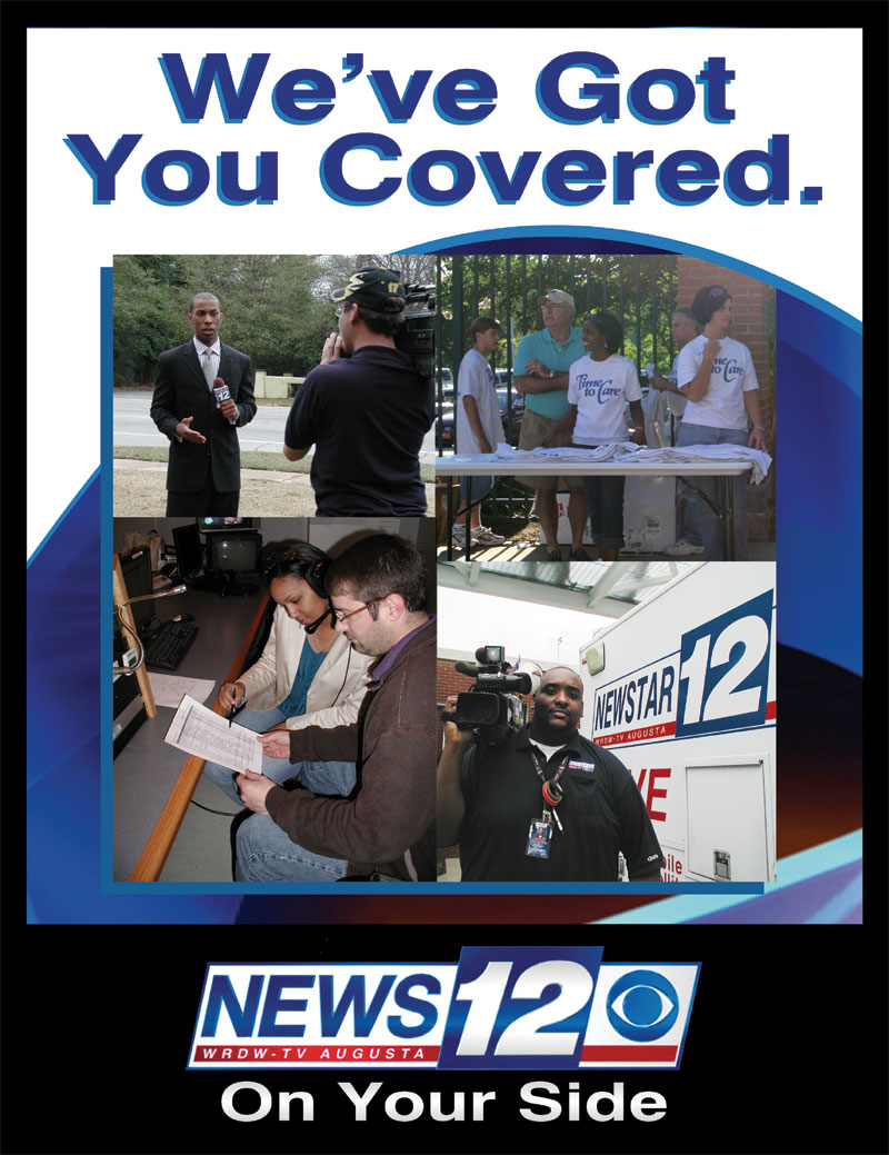 Full page magazine ad for WRDW-TV News 12
