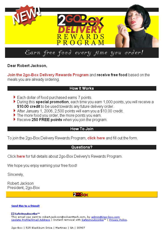 2go-Box Rewards Email