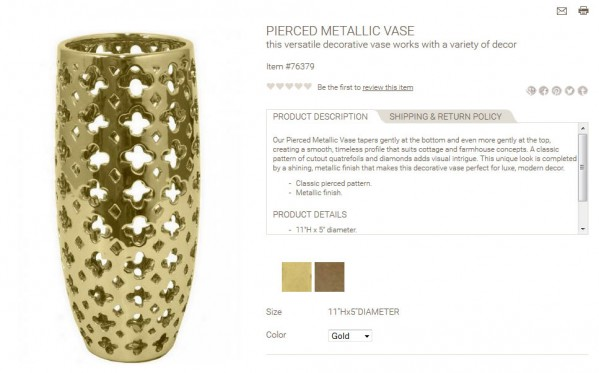 Pierced Metallic Vase product description