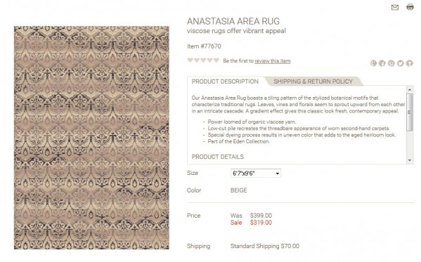 Anastasia Area Rug product description