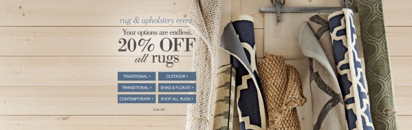 "A variety of rugs with the headline ""Your options are endless."""