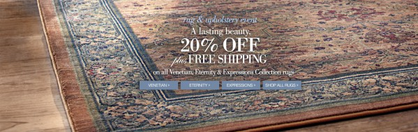 "Detail of a rug with the headline ""A lasting beauty."""