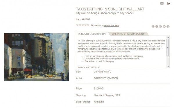 Taxis Bathing in Sunlight Wall Art product description
