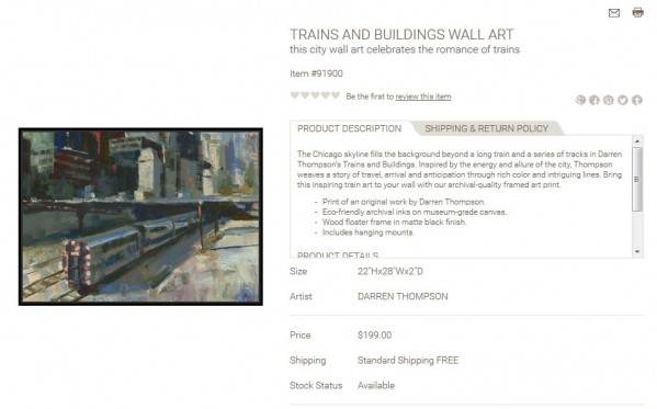 Trains and Buildings Wall Art product description
