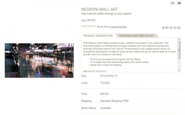 Negroni Wall Art product description