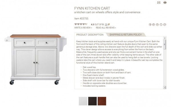 Fynn Kitchen Cart product description