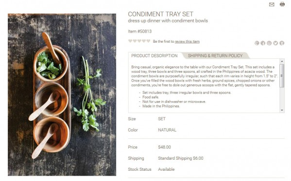 Condiment Tray Set product description