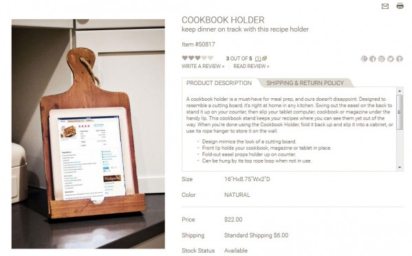 Cookbook Holder product description