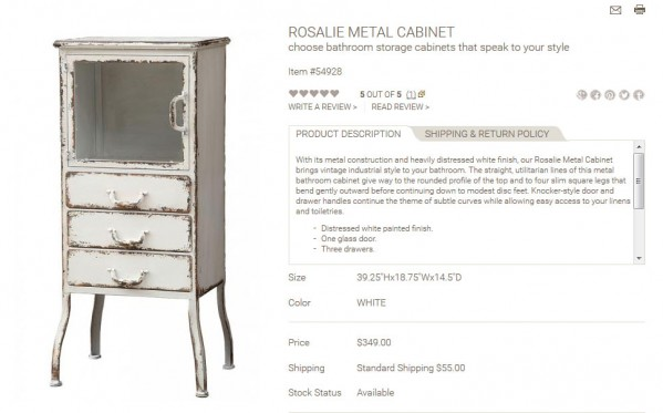 Rosalie Metal Cabinet product description