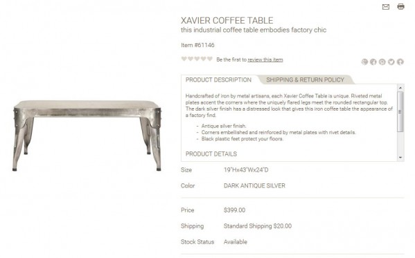 Xavier Coffee Table product description
