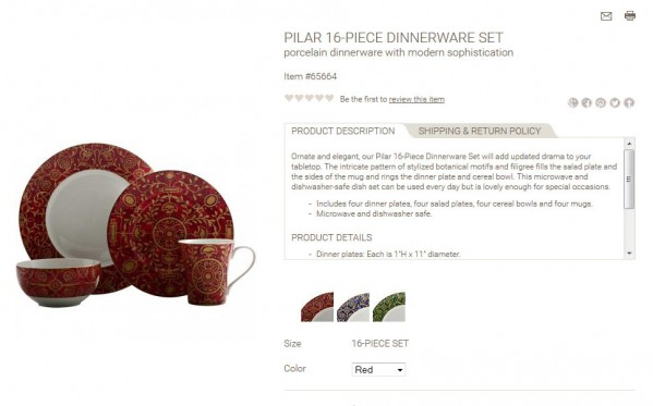 Pilar 16-Piece Dinnerware Set product description
