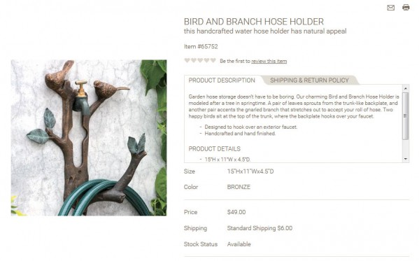 Bird and Branch Hose Holder product description