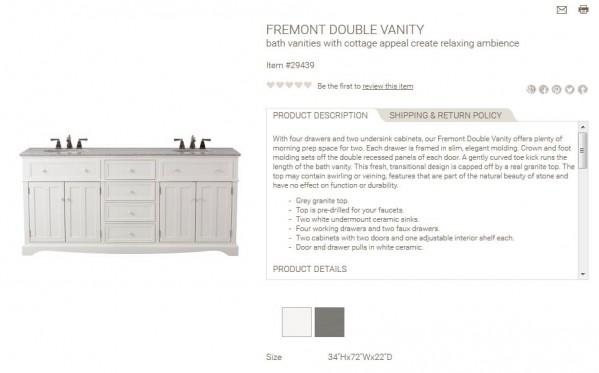 Fremont Double Vanity product description