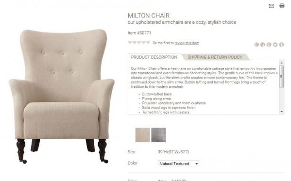Milton Chair product description