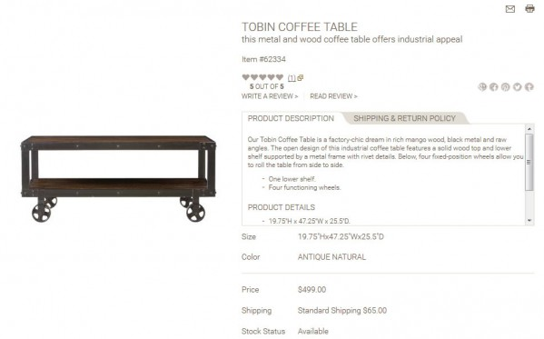 Tobin Coffee Table product description