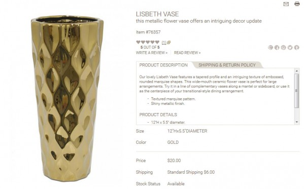 Lisbeth Vase product description