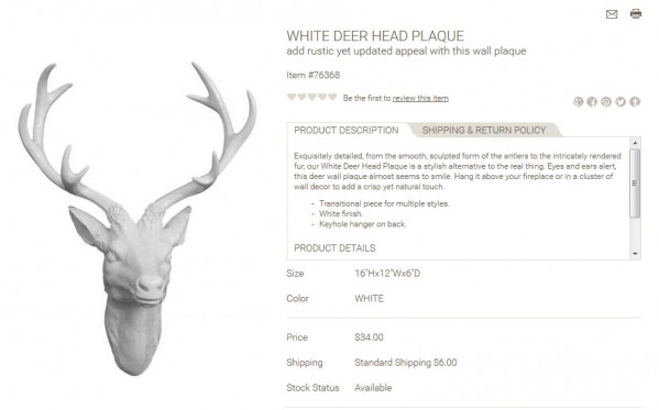 White Deer Head Plaque product description